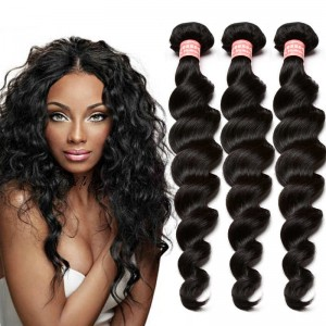 Indian Virgin Hair Loose Wave Human Hair Weaves 3 Bundles Natural Color can be dyed and bleached