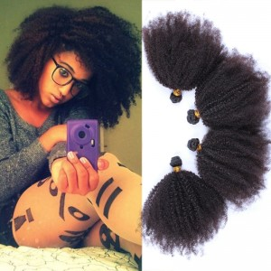 Mongolian Afro Kinky Curly Human Hair Weaves 4-5 Bundles Natural Color can be dyed and bleached