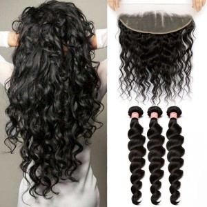 Brazilian Virgin Human Loose Wave Hair Extensions 3 Bundles with 1 Frontal closure Natural Color Dyeable