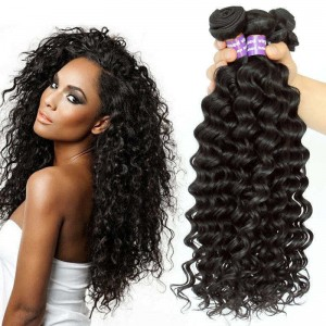 Brazilian Virgin Hair Deep Wave Human Hair Weaves 3 Bundles Natural Color can be dyed and bleached