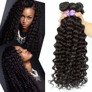 Indian Virgin Hair Deep Wave Human Hair Weaves 3 Bundles Natural Color can be dyed and bleached