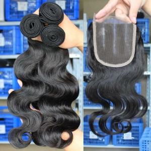 Malaysian Virgin Hair Body Wave Middle Part Lace Closure with 3pcs Weaves