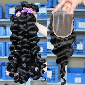 Peruvian Virgin Hair Loose Wave Middle Part Lace Closure with 3pcs Weaves