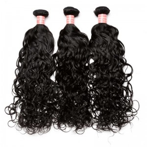 Indian Virgin Hair Water Wave Human Hair Weaves 3 Bundles Natural Color can be dyed and bleached