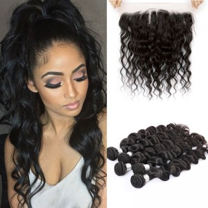 Peruvian Virgin Human Loose Wave Hair Extensions4 Bundles with 1 Frontal closure Natural Color Dyeable