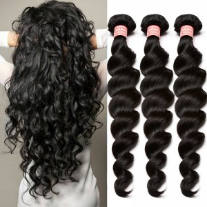 Peruvian Virgin Hair Human Hair Weaves 3 Bundles Loose Wave Natural Color can be dyed and bleached