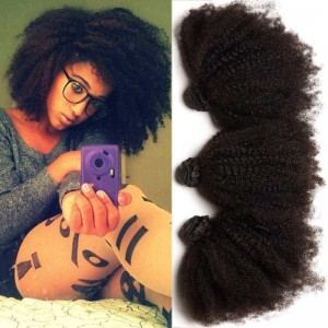 Brazilian Virgin Hair Human Hair Weaves 3 Bundles Afro Kinky Curly Natural Color can be dyed and bleached