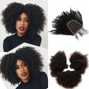 Brazilian Virgin Human Afro Kinky Curly Hair Extensions 3 Bundles with 1 closure Natural Color Dyeable