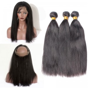 Brazilian Hair 360 Lace Frontal Band Yaki Straight Brazilian Virgin Hair Lace Frontals Natural Hairline with 3 Bundles