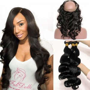 Brazilian Hair 360 Lace Frontal Band Body Wave Brazilian Virgin Hair Lace Frontals Natural Hairline with 3 Bundles