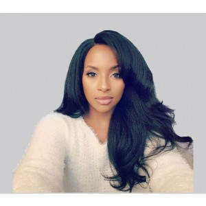360 Lace Wigs 18 inch Pre-Plucked Natural Hair Line Yaki Straight 180% Density Can be Dyed and Bleached
