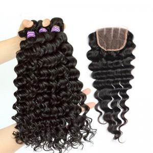 Deep Wave Brazilian Virgin Hair Free Part Lace Closure with 3pcs Weaves
