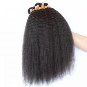 Brazilian Virgin Hair Kinky Straight Human Hair Weaves 3 Bundles Natural Color can be dyed and bleached