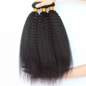 Indian Virgin Hair Kinky Straight Human Hair Weaves 3 Bundles Natural Color can be dyed and bleached