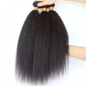 Peruvian Virgin Hair Kinky Straight Human Hair Weaves 3 Bundles Natural Color can be dyed and bleached
