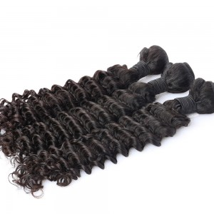 Brazilian Virgin Human Deep Wave Wave Hair Extensions 3 Bundles with 1 Frontal closure Natural Color Dyeable