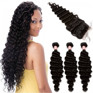 Brazilian Virgin Human Hair Extensions Deep Wave 3 Bundles with 1 closure Natural Color Dyeable