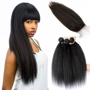 Brazilian Virgin Human Kinky Straight Hair Extensions 3 Bundles with 1 closure Natural Color Dyeable