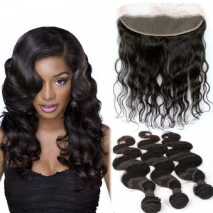 Brazilian Virgin Human Body Wave Hair Extensions 4 Bundles with 1 Frontal closure Natural Color Dyeable