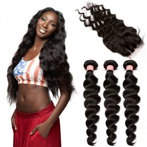 Brazilian Virgin Human Hair Extensions Loose Wave 3 Bundles with 1 closure Natural Color Dyeable