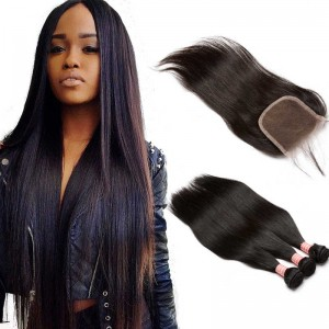 Brazilian Virgin Human Straight Hair Extensions 3 Bundles with 1 closure Natural Color Dyeable