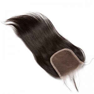 Lace Closure 4*4 Brazilian Virgin Hair Natural Black Color Straight Can be Dyed