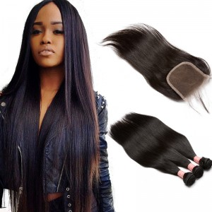 Brazilian Virgin with Closure Hair Extensions Loose Wave 3 Bundles with 1 closure Natural Color Straight