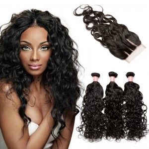 Brazilian Virgin Human Water Wave Hair Extensions 3 Bundles with 1 closure Natural Color Dyeable