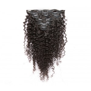 Kinky Curly Mongolian Virgin Hair Clip In Human Hair Extensions Natural Color