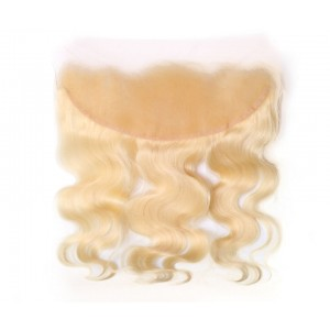 Brazilian Lace Frontal Closure Body Wave 613 Blond Color 13*4Plucked Natural Hairline Bleached Knots 100% Human Hair