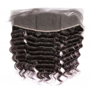 Brazilian Lace Frontal Closure Deep Wave 13*4Plucked Natural Hairline Bleached Knots 100% Human Hair
