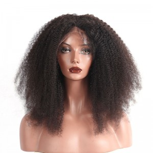 Lace Front Human Hair Wigs Afro Kinky Curly Brazilian Virgin Hair 100% Human Hair Lace Front Wigs 20 inch