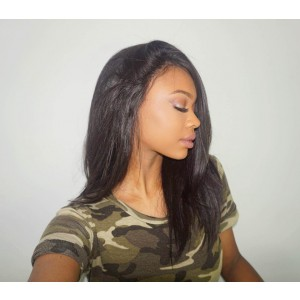 Short Layed Bob Wigs 250% Density Straight Brazilian Virgin Hair Natural Color Can be dyed and Bleached
