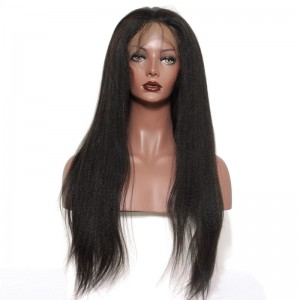 Full Lace Human Hair Wigs Light Yaki Human Hair Wig Brazilian Virgin Hair Full Lace Wigs