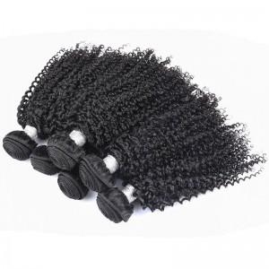 Peruvian Virgin Hair Human Hair Weaves 3 Bundles Kinky Curly Natural Color can be dyed and bleached