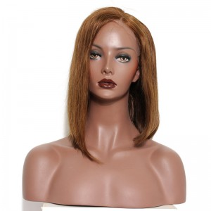 Short Layed Asymmetrical Cut Bob Wigs 250% Density Straight Brazilian Hair #4 Color Can be dyed