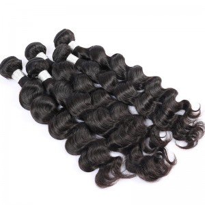 Brazilian Virgin Hair Human Hair Weaves 3 Bundles Loose Wave Natural Color can be dyed and bleached