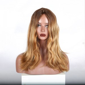 kosher wig Jewish Lace Wigs European virgin hair Natural wave ombre color silk top free shipping