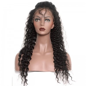 Full Lace Wigs Deep Wave Brazilian Virgin Human Hair Natural Black Color Pre-Plucked Natural Hairline