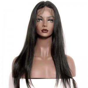 Full Lace Wigs Natural Color Silk Straight 100% Human Virgin Hair No Tangle No Shedding
