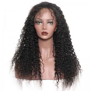 Full Lace Human Hair Wigs Deep Curly 100% Human Virgin Hair Natural Black Color
