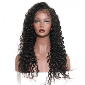 Brazilian Full Lace Wigs Loose Curly 100% Human Virgin Hair Natural Black Color Bleached Knots