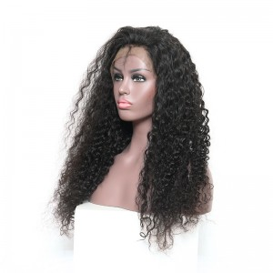 Pre-Plucked Natural Hair Line 360 Lace Wigs 150% Density Brazilian Hair Deep Curly Human Hair Wigs Bleached Knots