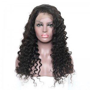Pre-Plucked Natural Hair Line 360 Lace Wigs 150% Density Deep Wave Brazilian Human Hair Bleached Knots