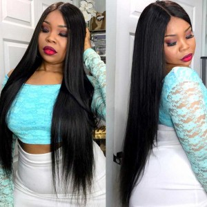 Brazilian Virgin Human Straight Hair Extensions 4 Bundles with 1 Frontal closure Natural Color Dyeable