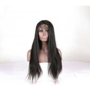 Lace Front Human Hair Wigs Yaki Straight Pre-Plucked Natural Hair Line 150% Density Wigs
