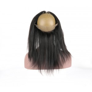 360 Lace Frontal Closure Light Yaki 12 inch Brazilian Virgin Hair Lace Frontal Natural Hairline 22.5*4*2