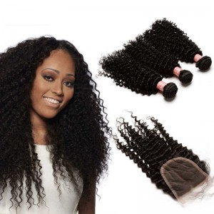 Brazilian Virgin Human Kinky Curly Hair Extensions 3 Bundles with 1 closure Natural Color Dyeable