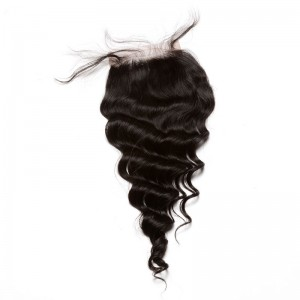Mongolian Virgin Hair Loose Wave Free Part Lace Closure 4x4inches Natural Color
