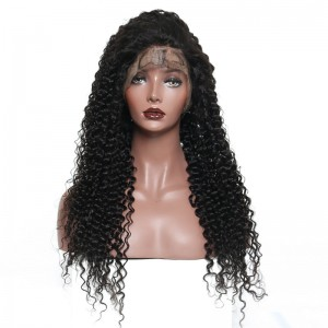 Lace Front Human Hair Wigs 150% Desnity Deep Curly  Pre-Plucked Natural Hair Line 100% Human Virgin Hair